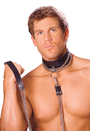 Leather choker with chain and detachable chain leash L9151