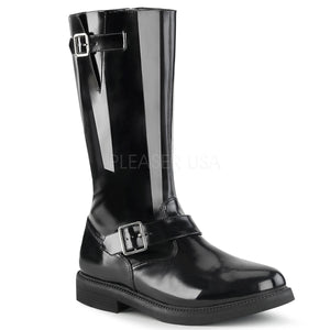 Men's knee high black patent engineer boot Officer-201