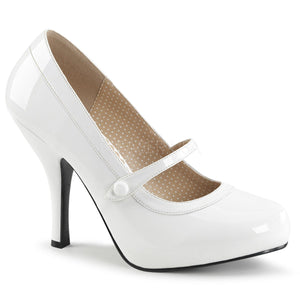 white Mary Jane pump shoes with 4.5-inch spike heel Pinup-01