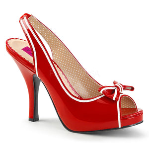 red peep toe slingback sandal shoes with bow and 4-inch heel Pinup-10