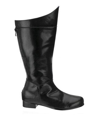 side view of men's superhero costume boots