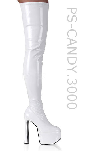 white thigh high boots with 6.5-inch chunky heels Candy-3000