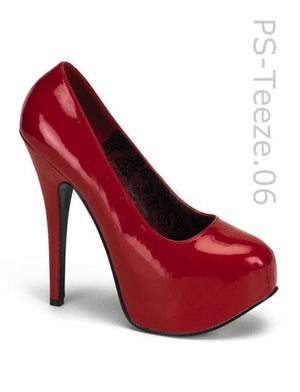 Red, Black or White Concealed Platform Pump 6-inch Heel