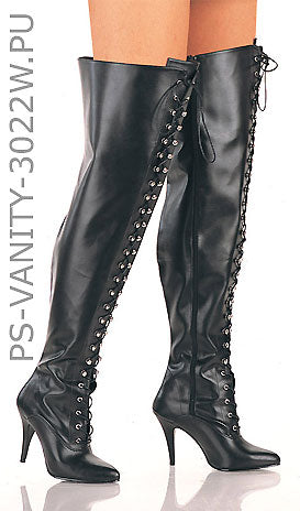 Plus size thigh high front lace-up boots with 4-inch spike heels Vanity-3022WS