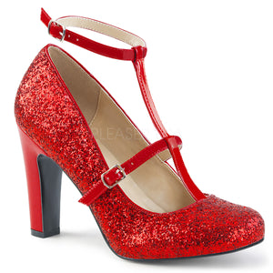 round toe red glitter pump shoes with 4-inch heels Queen-01
