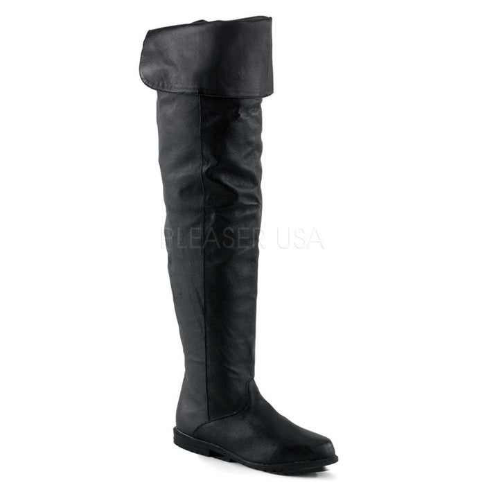 Leather Thigh High Boots with 3/4-inch Heels