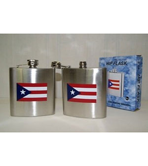 Puerto Rico flag stainless steel small 6-ounce hip flask 60000344