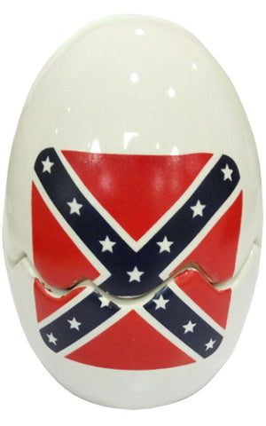 Rebel Confederate Flag Stacking Salt & Pepper Shakers Ceramic Egg