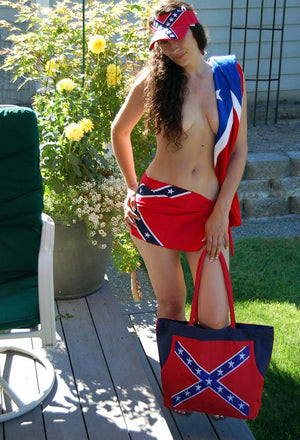 Rebel Confederate flag beach bag with Rebel beach towel