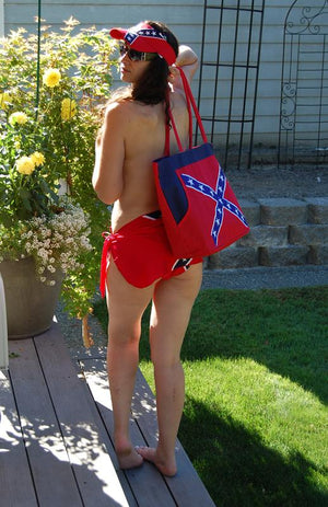 Rebel Confederate flag beach bag back view