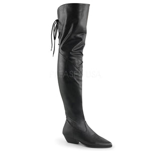 black faux leather Thigh high boots with 1.5-inch heels Rodeo-8822