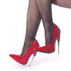 back of red Fetish pump shoes with steel 6-inch Scream-01