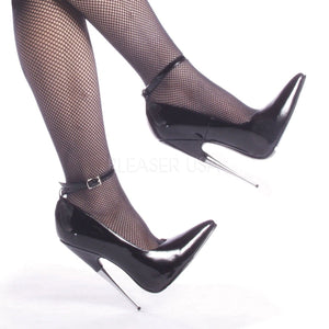 black Fetish ankle strap pump shoes with steel 6-inch heels Scream-12