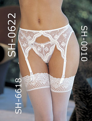 white Scalloped embroidery lace garter belt 622