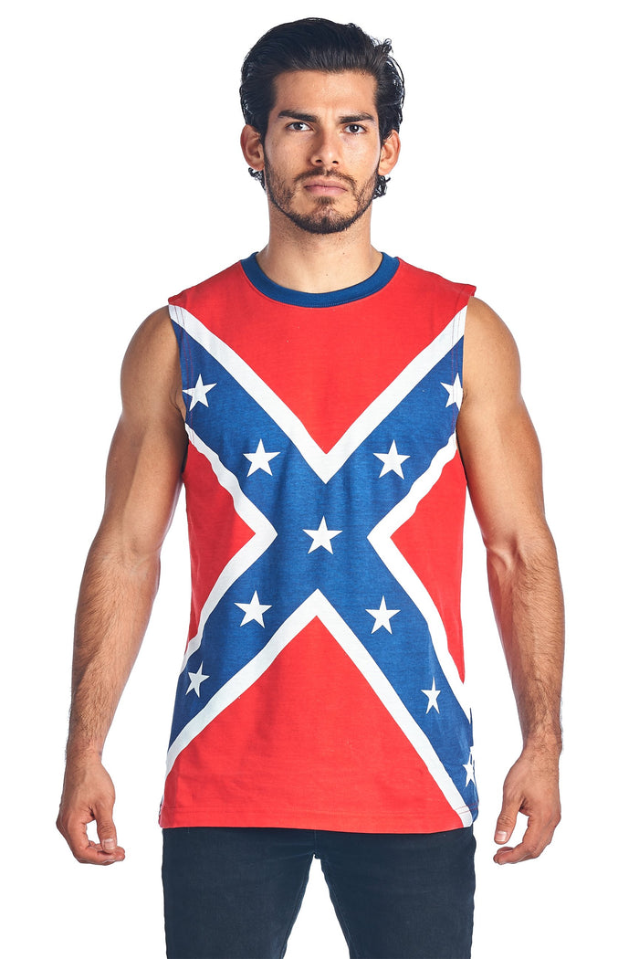 Men's Confederate Rebel Flag Sleeveless T-shirt Southern Dixie Redneck Pride