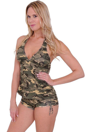front of Camouflage tankini 2-pc set with matching side tie booty shorts