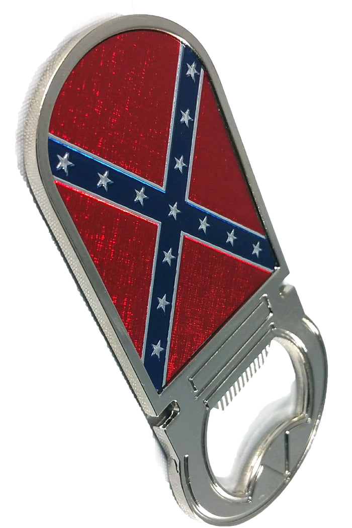 Rebel Confederate Flag Metal Bottle Opener Magnet