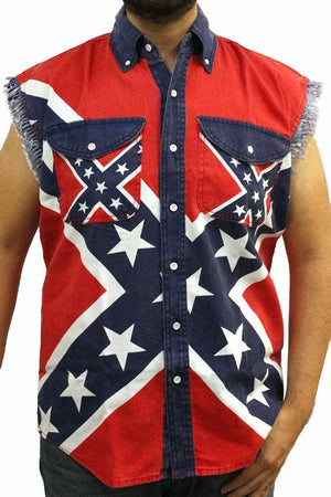 Rebel Flag Frayed Sleeveless Men's Denim Biker Shirt