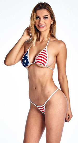 USA American flag micro thong bikini 2-pc. set