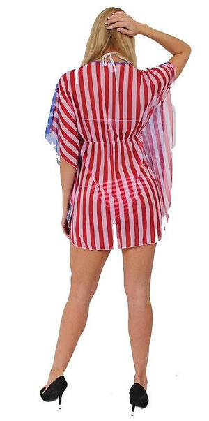 back of American flag stars and stripes sheer short sleeve beach dress