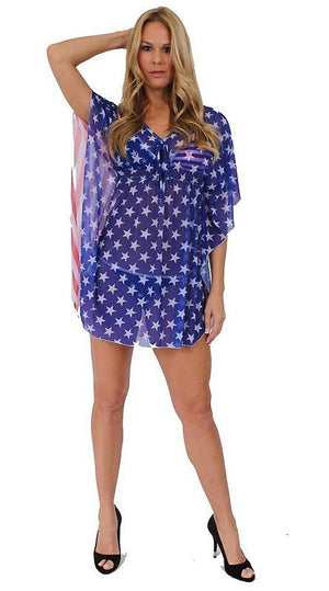 full view American flag stars and stripes sheer beach dress ST260