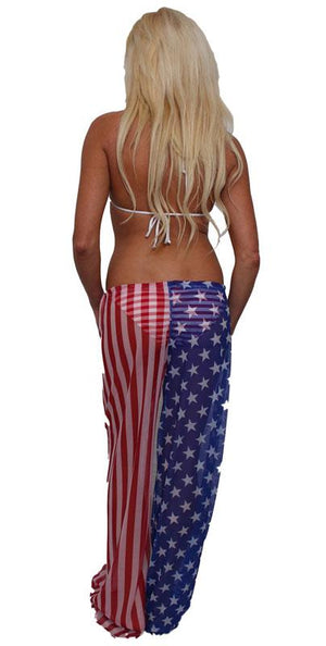 back view of ST262 American flag sheer beach pants