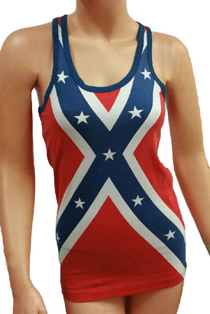 Confederate flag lady's tank top with a racer back WRFL