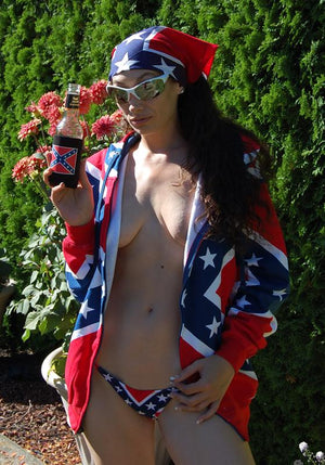 Confederate flag zipper front hoodie ZRF with Rebel micro bikini