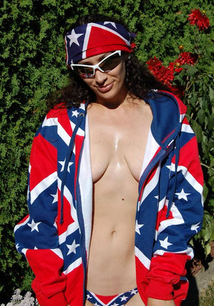 RF-18692M Rebel Confederate Flag Side Tie MICRO Bikini 2-pc Set