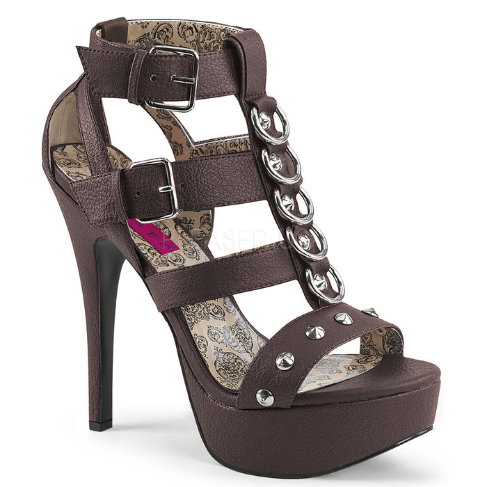 T-Strap Sandal with Studs and Rings 5-inch Heel