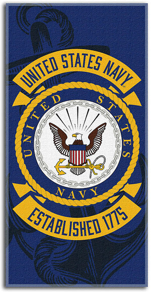 Blue and gold U.S. NAVY beach towel 1023
