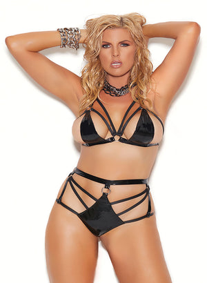 Plus size strappy vinyl string bra top and booty shorts V1190X