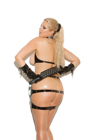 back of plus size underwire vinyl cupless bra with spanking skirt V1930X
