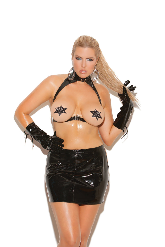 Plus Size Vinyl Cupless Bra with Spanking Skirt