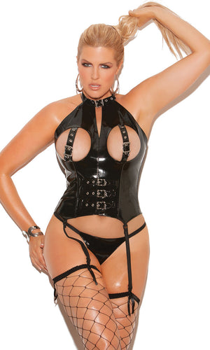 Plus size vinyl cupless bustier with buckles V3147
