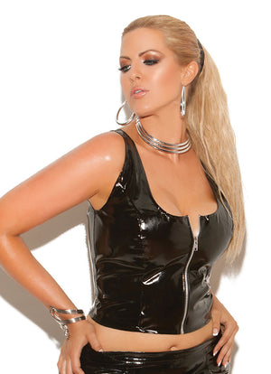 plus size vinyl top bustier with front zipper V4122X