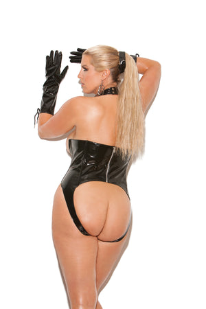 back of plus size vinyl cupless teddy with lace-up front V4341