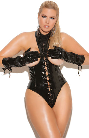 plus size vinyl cupless teddy with lace-up front V4341