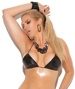 Plus size plain vinyl string bra top V5361X