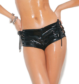 Vinyl shorts with lace-up sides and back zipper V7169