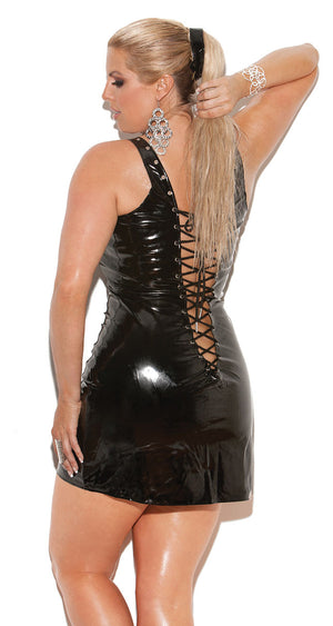 back of plus size Vinyl mini dress that laces up the front and back V8116X