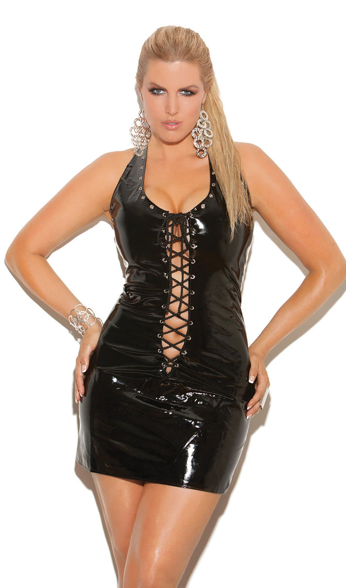 Plus Size Lace-Up Vinyl Mini Dress