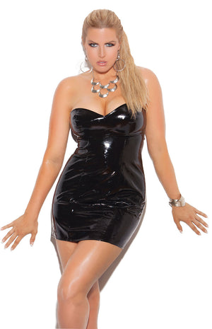 plus size strapless vinyl spanking dress V8427
