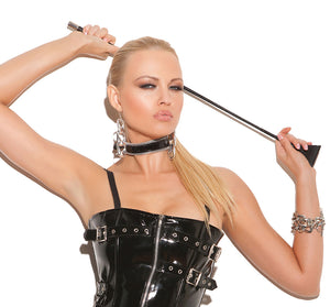 Vinyl choker with zipper trim V9078