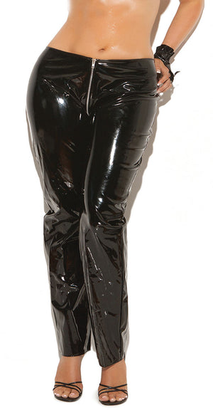 plus size vinyl pants with front zipper V9207X