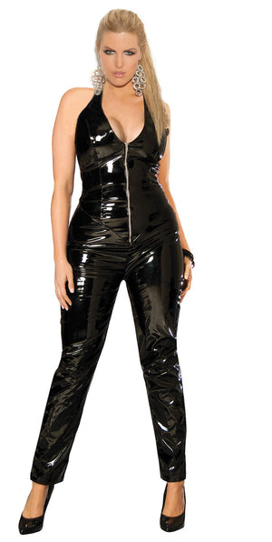 plus size Deep V vinyl catsuit with zipper front V9216X