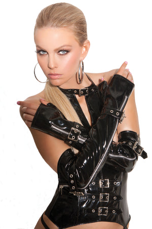 Fingerless vinyl gloves with zipper and buckle detail V9431