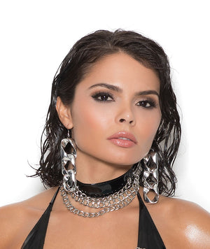 Vinyl choker with 3 chains V9809