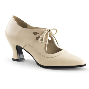 cream faux leather lace-up shoes with 2.75-inch heels Victorian-03