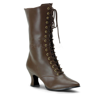 brown faux leather lace-up ankle boots 2.75-inch heels Victorian-120